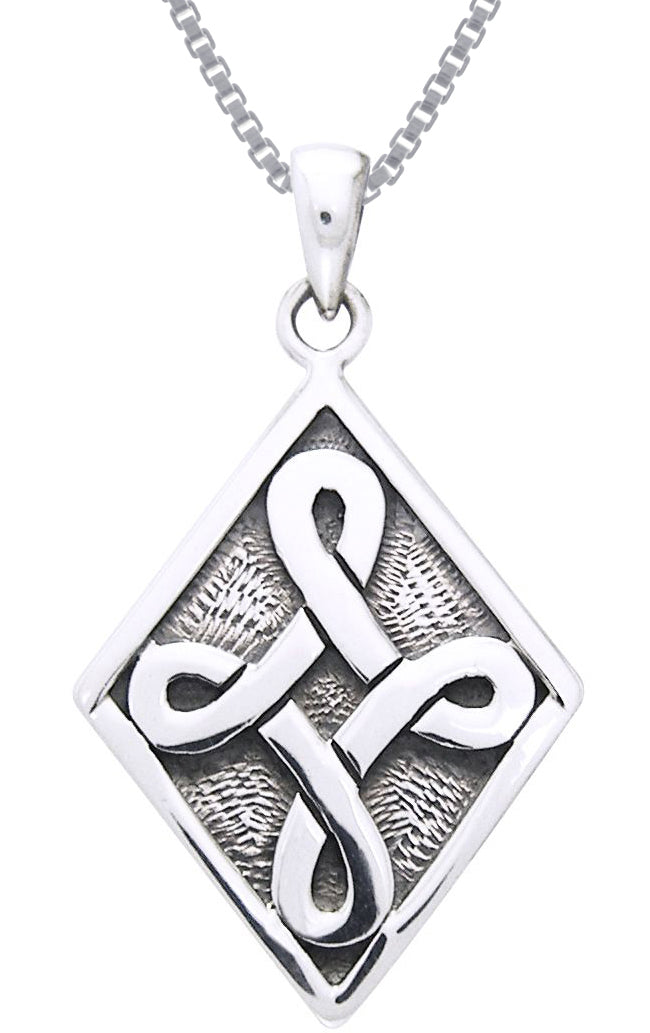 Jewelry Trends Sterling Silver Celtic Strength Knot Pendant on 18 Inch Box Chain Necklace