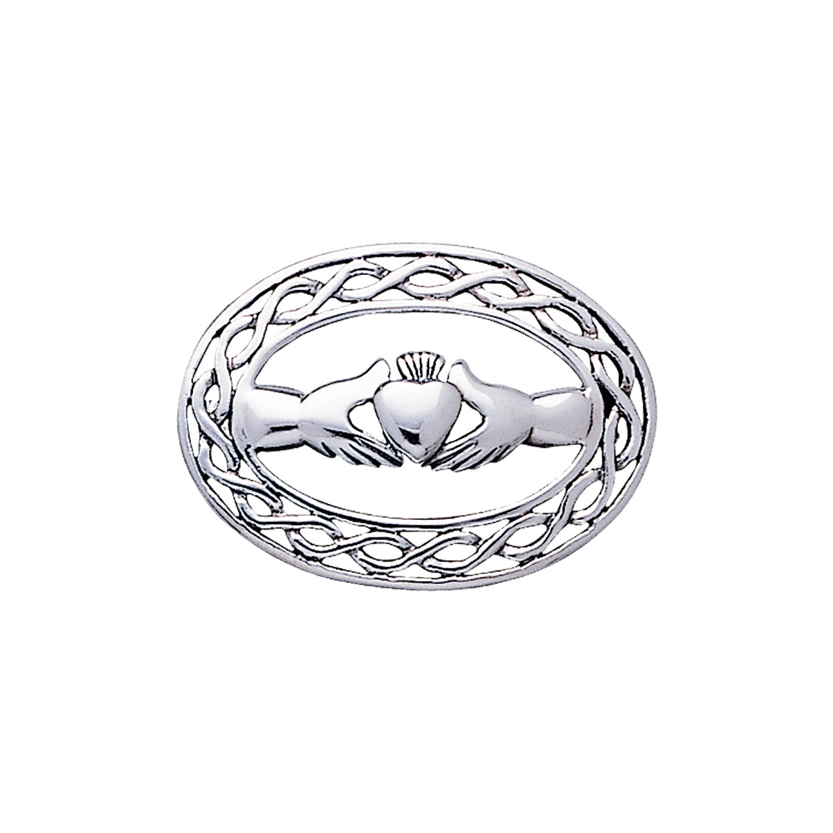 Jewelry Trends Sterling Silver Irish Claddagh With Celtic Knot Work