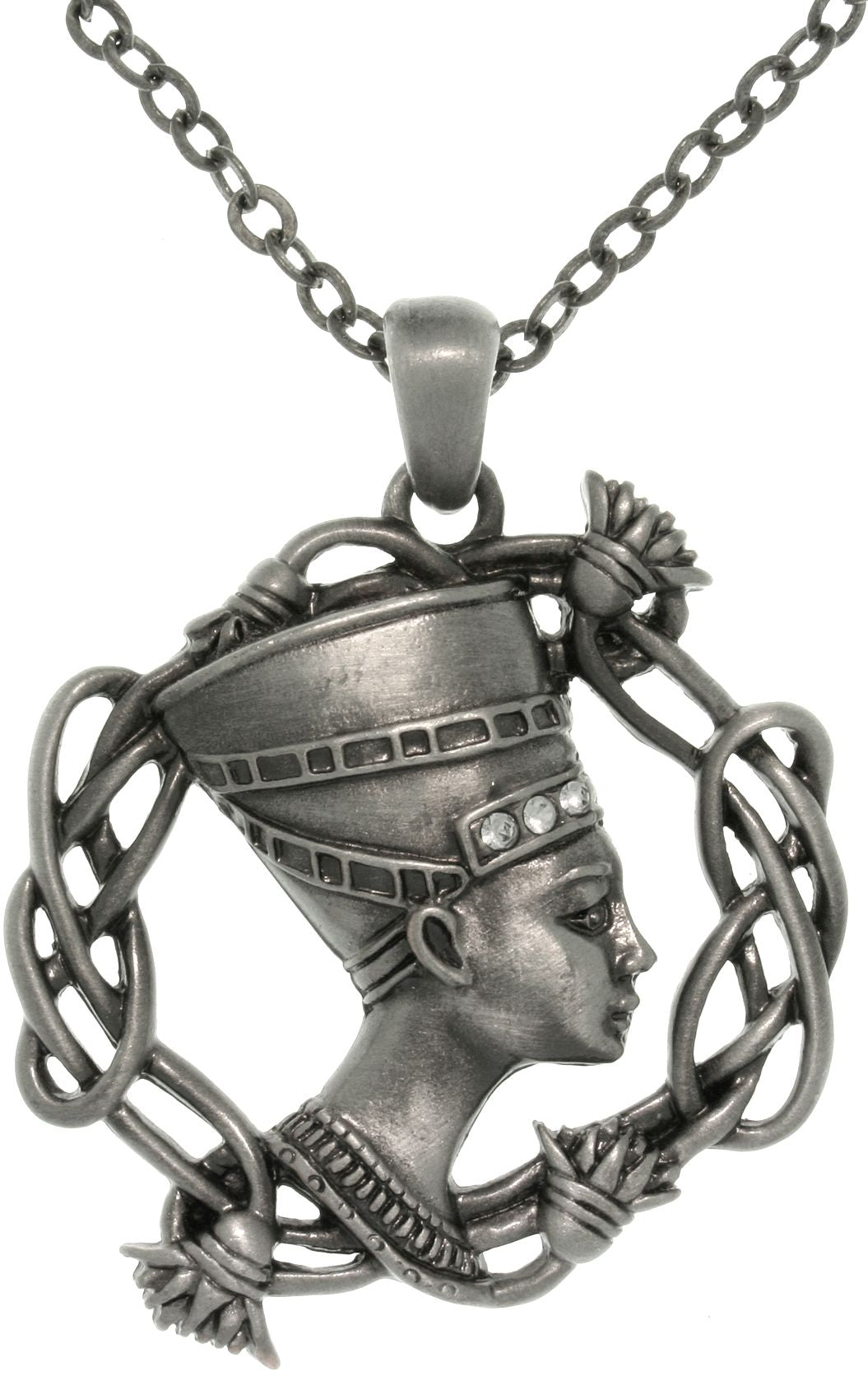 Jewelry Trends Pewter Rhinestone Egyptian Nefertiti Pendant with 23 Inch Chain Necklace