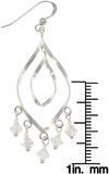 Jewelry Trends Sterling Silver With Rainbow Clear Crystal Glass Accent Chandelier Dangle Earrings