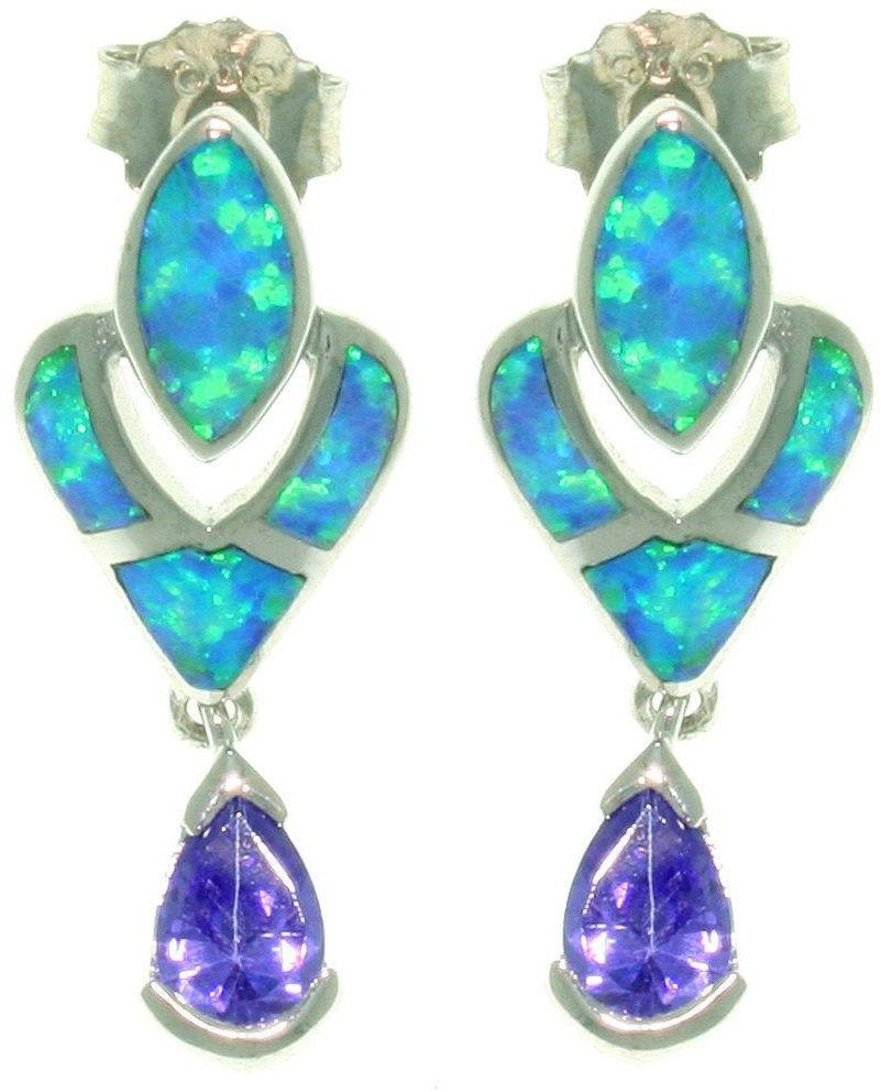 Jewelry Trends Sterling Silver Created Blue Opal and Purple Cubic Zirconia Victorian Dangle Earrings
