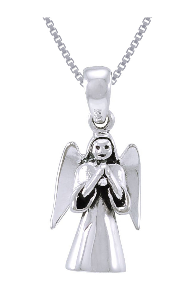 Jewelry Trends Sterling Silver Praying Angel Pendant on 18 Inch Box Chain Necklace