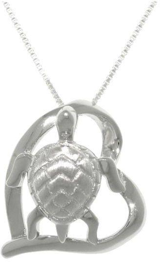 Jewelry Trends Sterling Silver Turtle in Heart Pendant on 18 Inch Box Chain Necklace