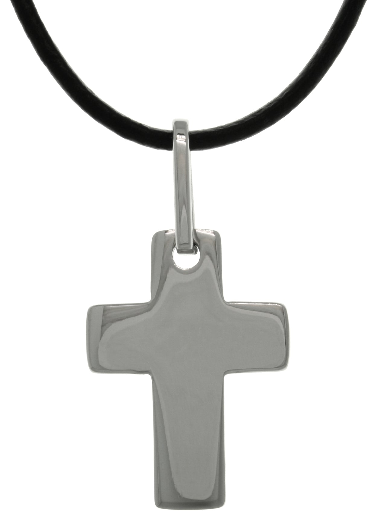 Jewelry Trends Stainless Steel Classic Cross Pendant on Black Leather Necklace Unisex Design