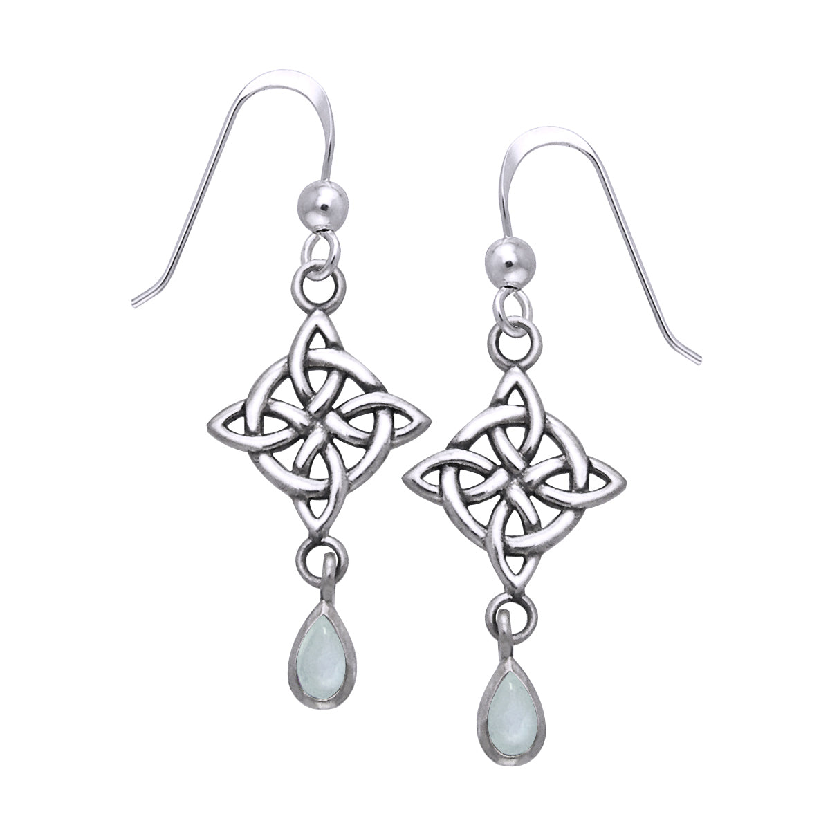 Jewelry Trends Sterling Silver and Rainbow Moonstone Celtic Luck Knotwork Dangle Earrings