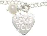 Jewelry Trends Sterling Silver Heart Charm Chain Bracelet with 'Love You' Message, and Peace Tag