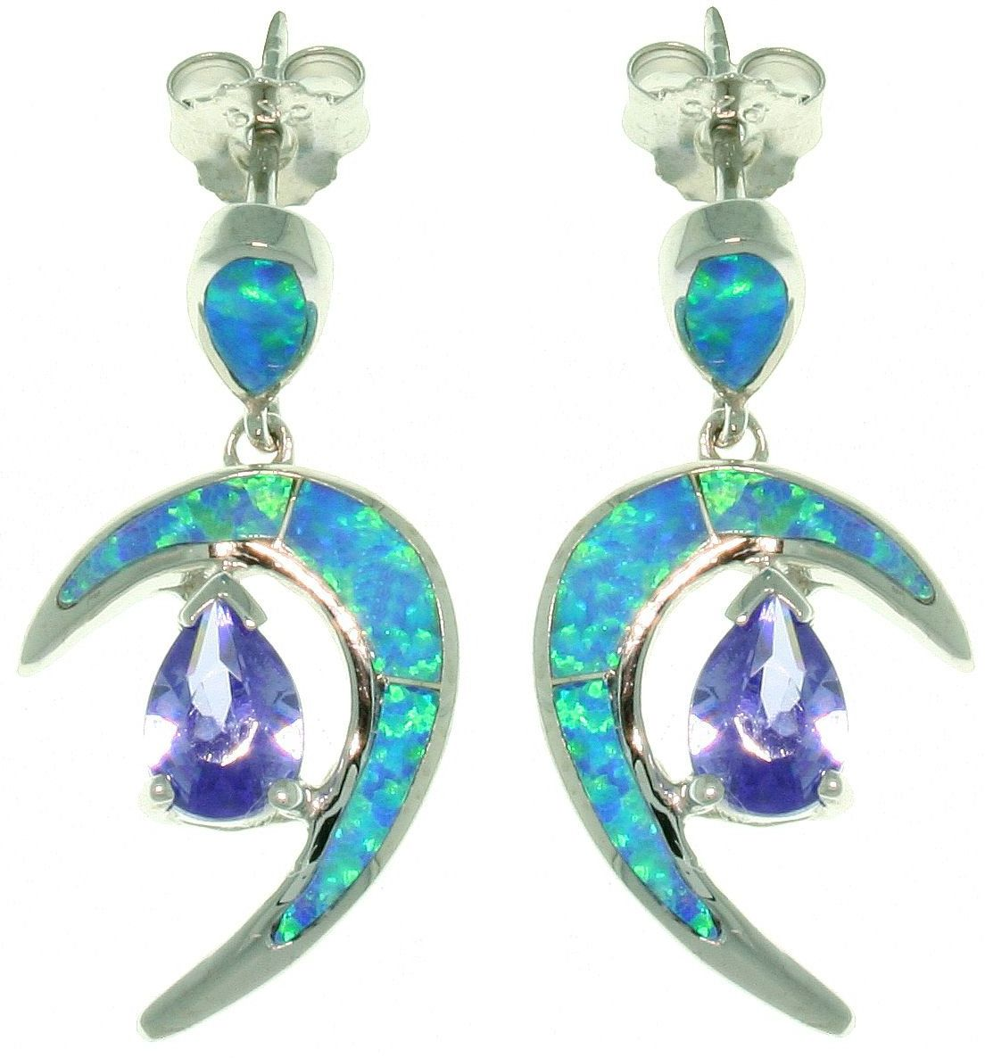 Jewelry Trends Sterling Silver Created Blue Opal Crescent Moon Dangle Earrings with Amethyst Purple CZ Stones