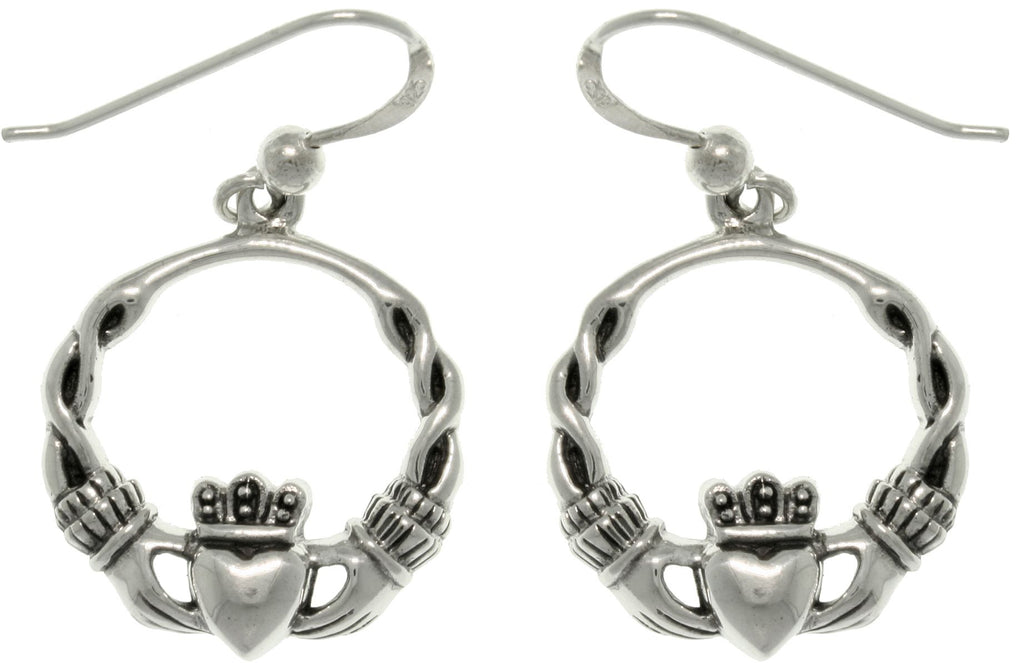 Jewelry Trends Sterling Silver Celtic Claddagh Heart with Crown Dangle Hoop Earrings