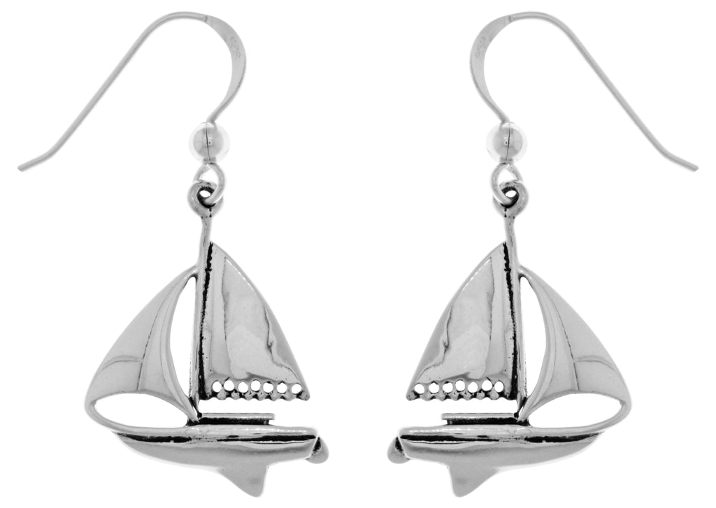 Jewelry Trends Sterling Silver Nautical Sailboat Dangle Earrings