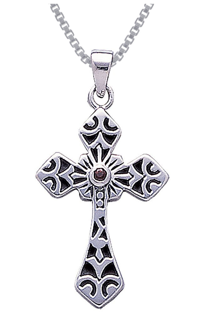 Jewelry Trends Sterling Silver with Dark Red Garnet Celtic Cross Pendant on 18 Inch Box Chain Necklace