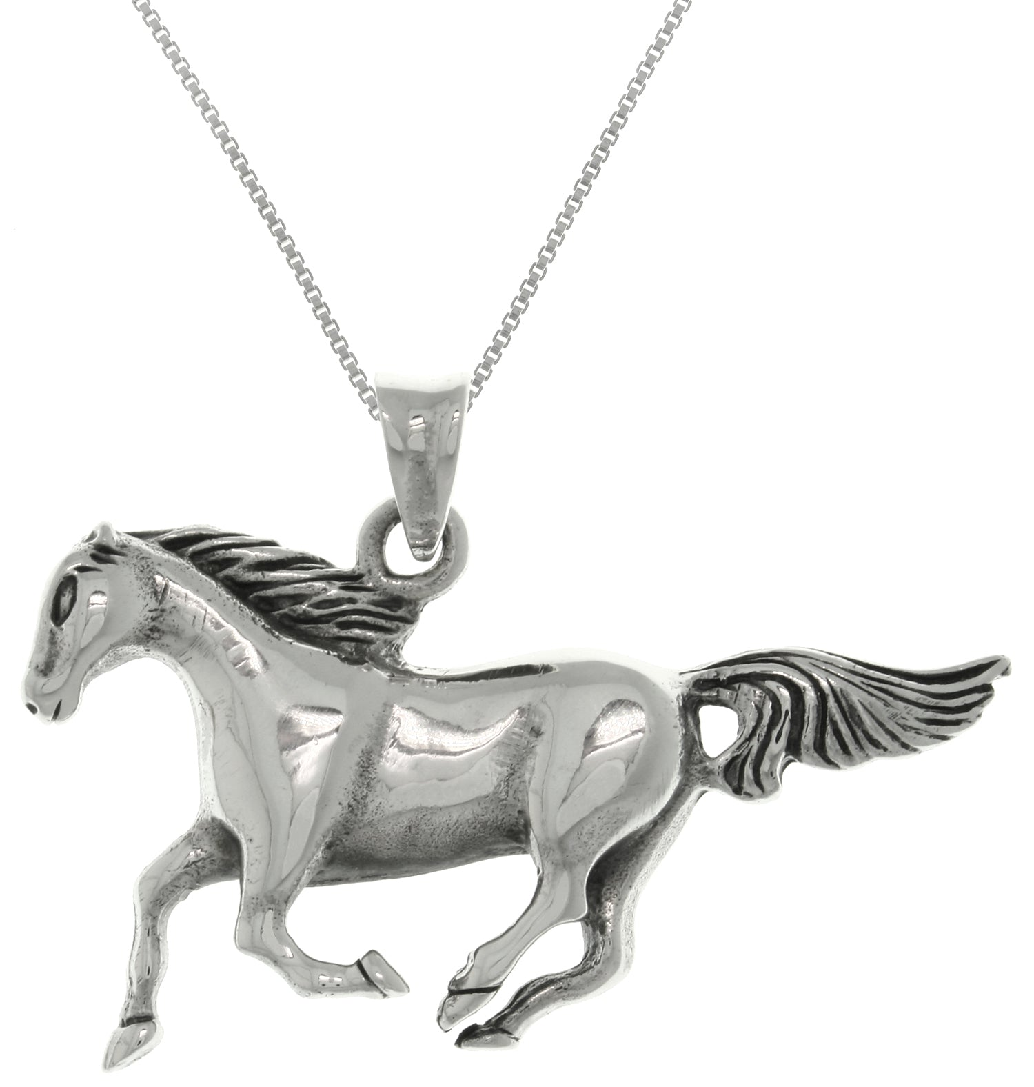 Jewelry Trends Sterling Silver Running Horse Mustang Pendant on 18 Inch Box Chain Necklace