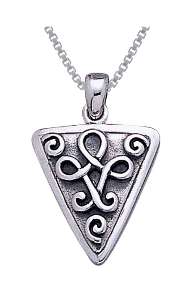 Jewelry Trends Sterling Silver Celtic Knot Triangle Pendant on 18 Inch Box Chain Necklace