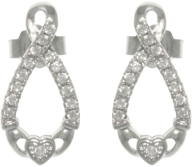 Jewelry Trends Sterling Silver Pave Cubic Zirconia Infinity Claddagh Post Earrings