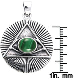 Jewelry Trends Sterling Silver Eye of Horus Pendant with Created Malachite on 18 Inch Box Chain Necklace