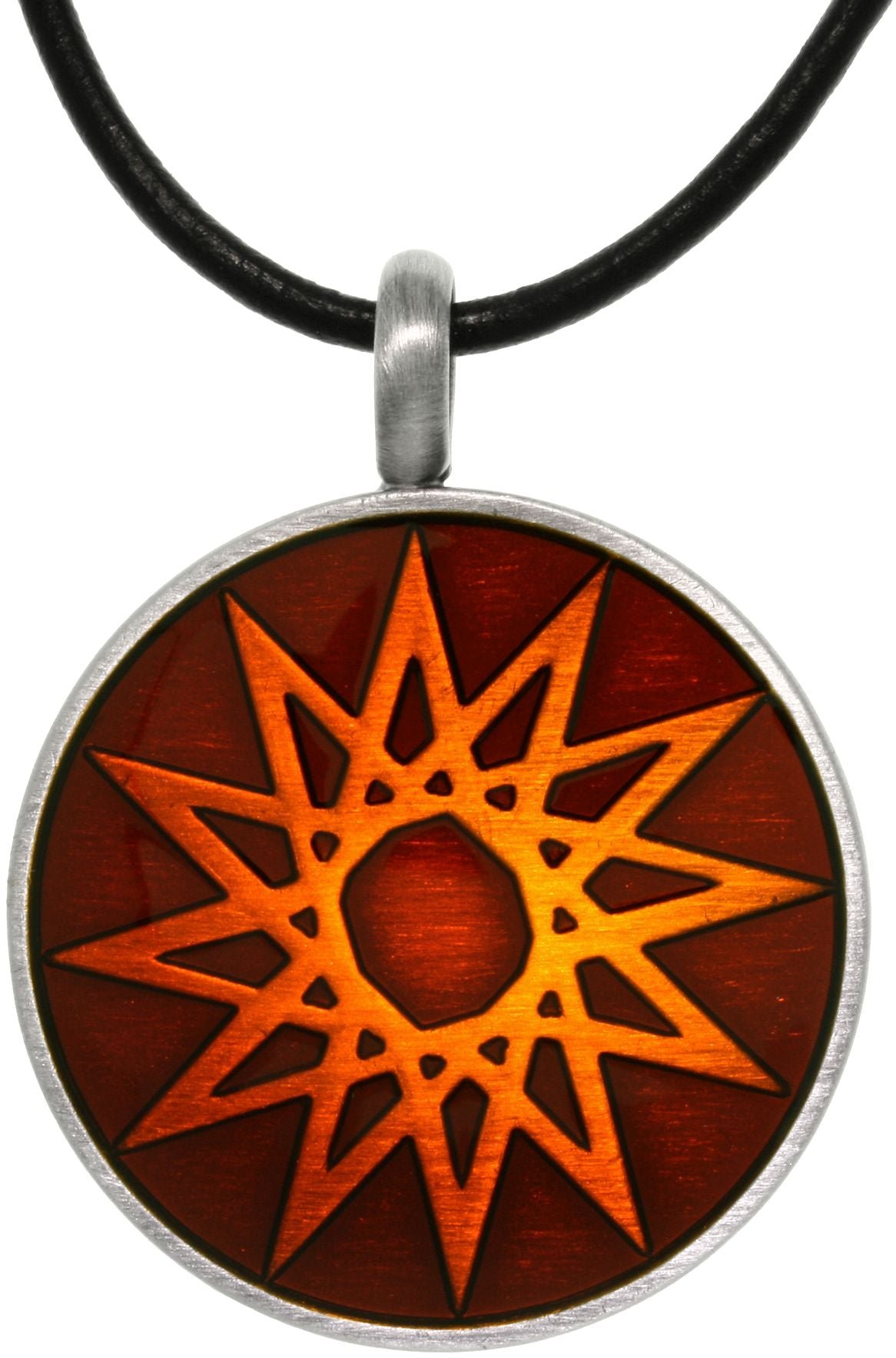 "Jewelry Trends Pewter Magic Star Vibrant Blood Orange Round Celestial Success Pendant on 18"" Black Leather Cord Necklace"