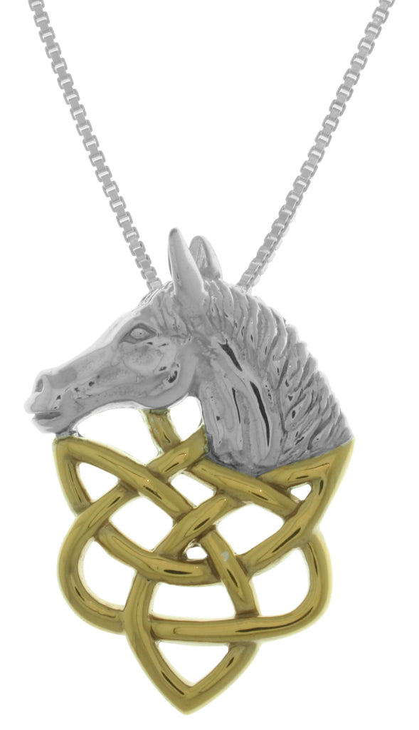 Jewelry Trends Sterling Silver Horse Head with 14k Gold-Plated Celtic Knotwork Pendant on 18 Inch Box Chain Necklace