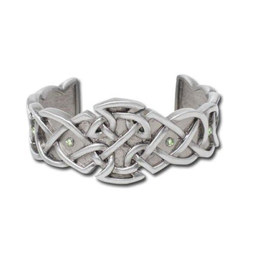 Jewelry Trends Mystica Collection Pewter Celtic Axe Cuff Bracelet with Green Stones