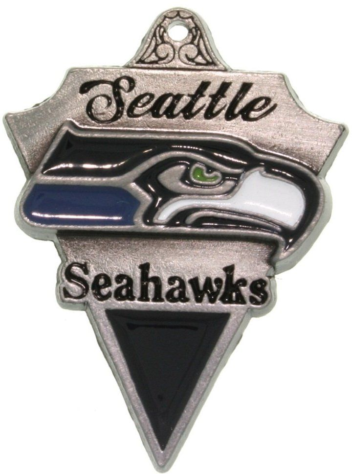 Jewelry Trends Pewter Seattle Seahawks NFL Pennant Pendant on Black Leather Necklace