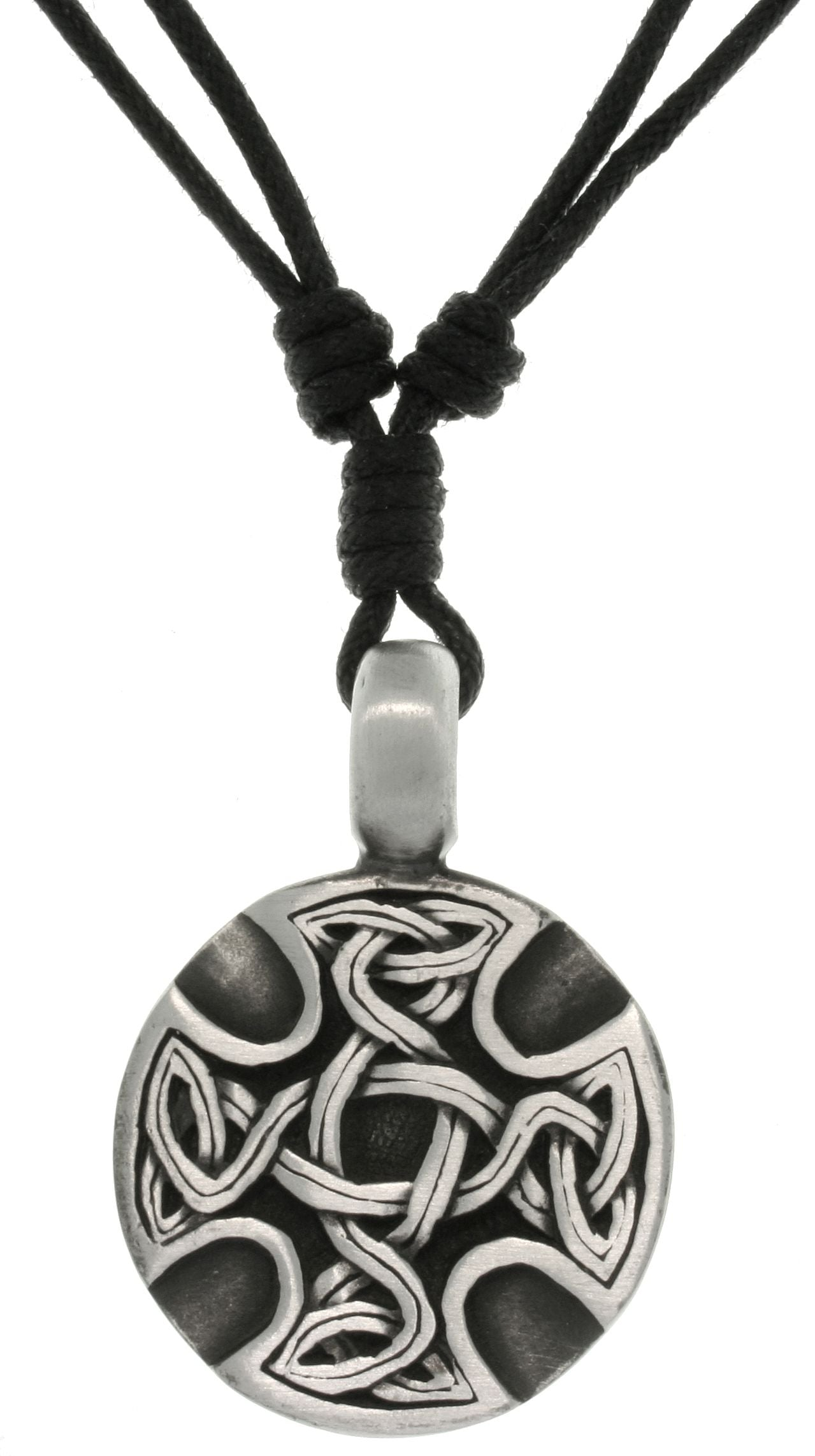 Jewelry Trends Pewter Celtic Medallion Unisex Pendant with Adjustable Black Cord Necklace