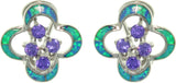 Jewelry Trends Sterling Silver Created Blue Opal and Amethyst Purple Cubic Zirconia Flower Cluster Earrings