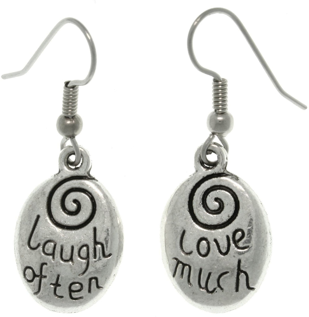 Jewelry Trends Pewter ' Laugh Often - Love Much ' Inspirational Message Dangle Earrings