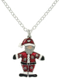 Jewelry Trends Pewter Enamel Holiday Santa Claus Charm with 18 Inch Chain Necklace