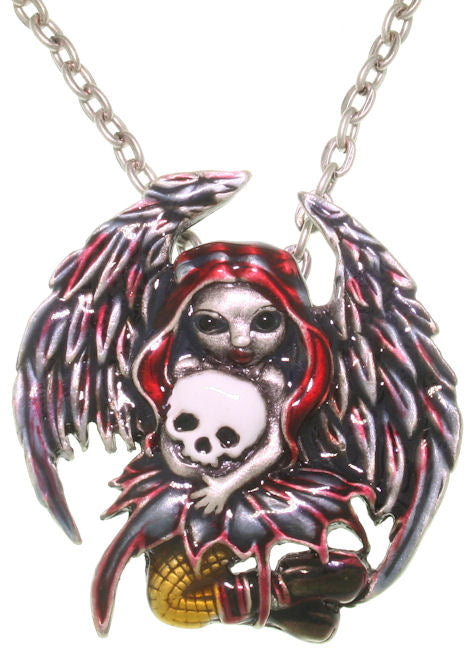 Jewelry Trends Jasmine Becket Griffith Strangeling Skull Stealer Fairy Pewter Pendant with 23 Inch Link Chain Necklace