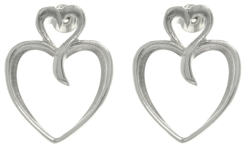 Jewelry Trends Sterling Silver Two Heart Post Earrings