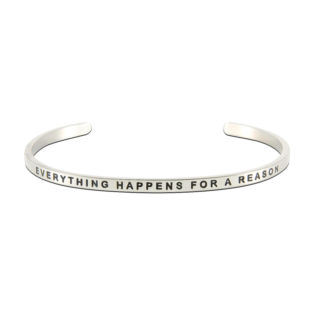 Jewelry Trends Stainless Steel EVERYTHING HAPPENS FOR A REASON Message Bangle Stacking Bracelet
