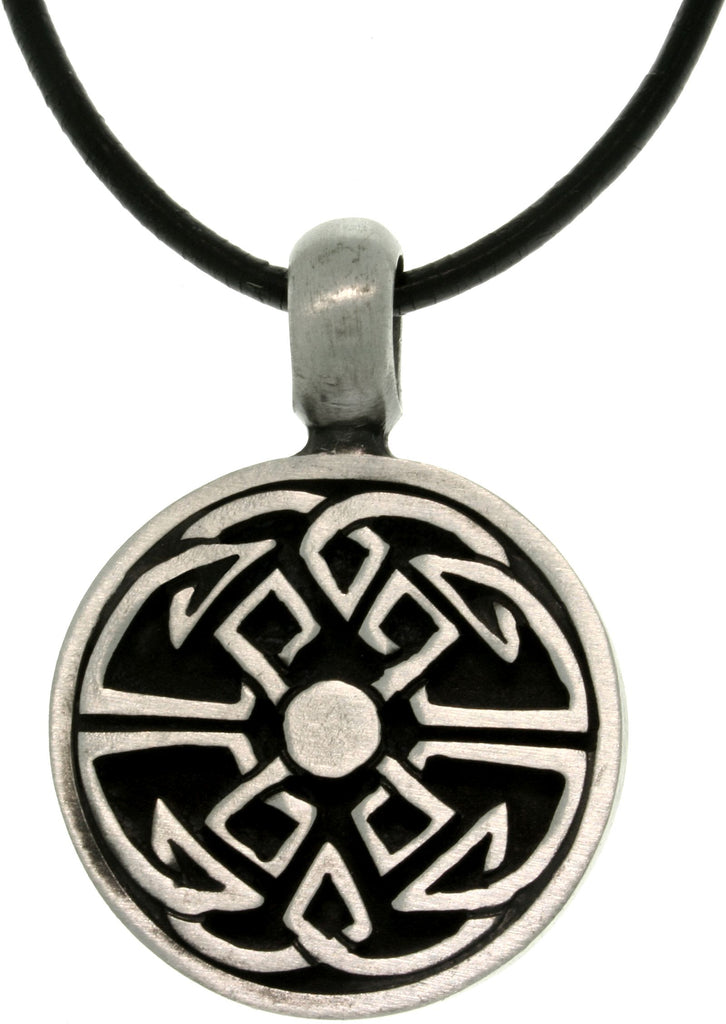 Jewelry Trends Pewter Good Fortune Celtic Unisex Pendant on 18 Inch Black Leather Cord Necklace Fathers Day Gift