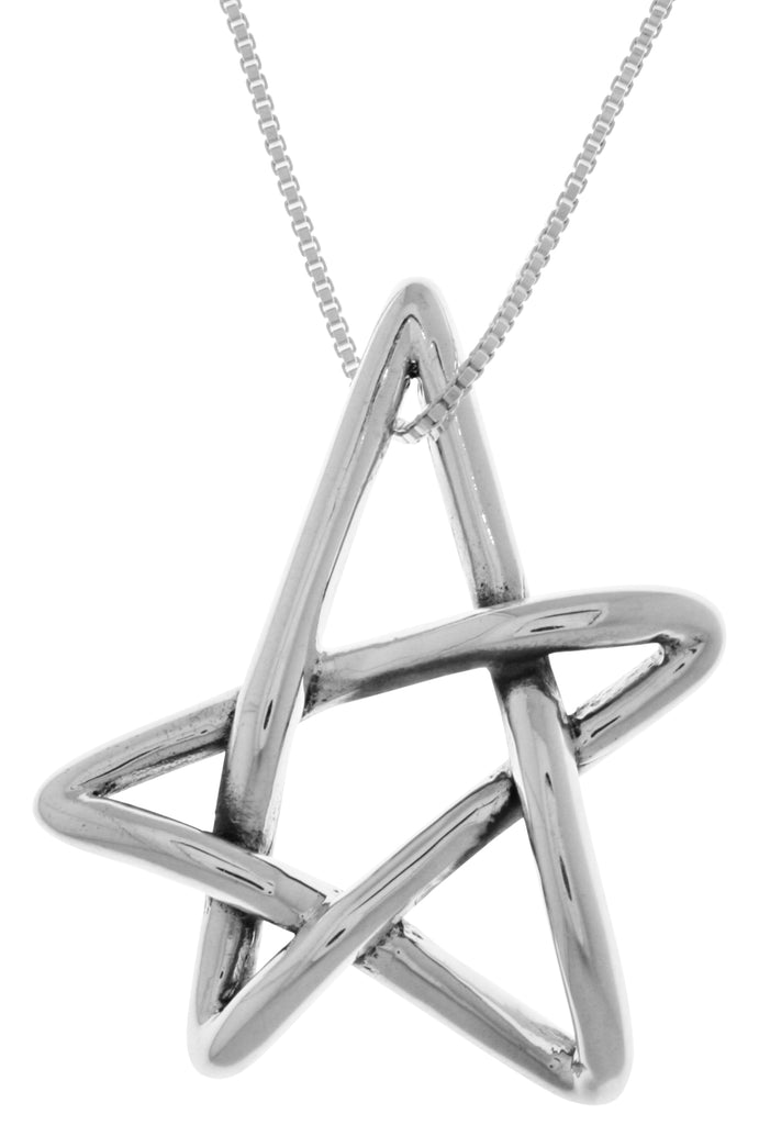 Jewelry Trends Sterling Silver Freeform Five Point Star Pendant on 18 Inch Box Chain Necklace