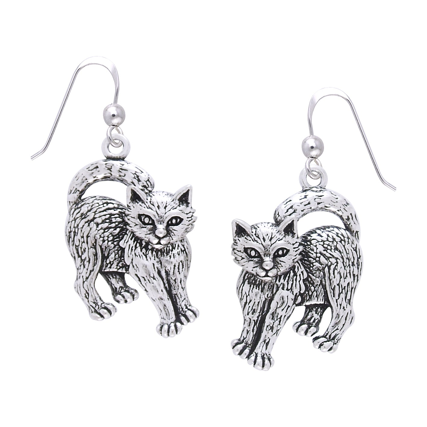 Jewelry Trends Sterling Silver Playful Kittens Cat Dangle Earrings