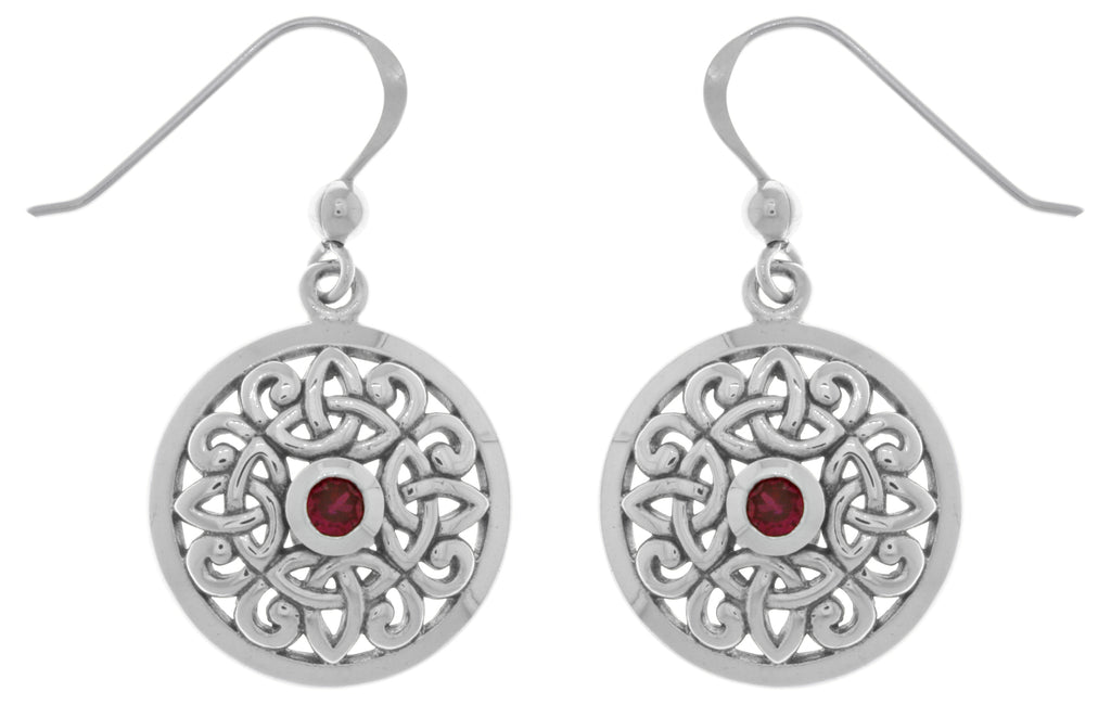 Jewelry Trends Sterling Silver Celtic Knot Round Shield Dangle Earrings with Synthetic Ruby