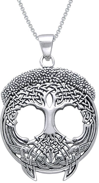 "Jewelry Trends Sterling Silver Tree of Life Pendant on 18"" Box Chain Necklace Artwork By Courtney Davis"