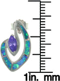 Jewelry Trends Sterling Silver Created Opal and Amethyst Purple CZ Marquise Post Earrings