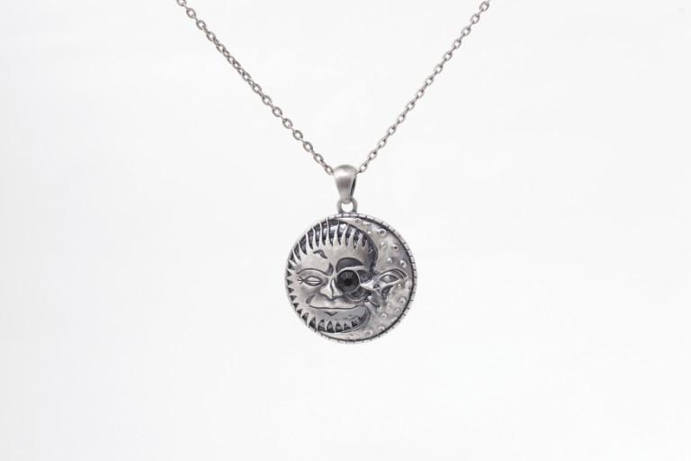 Jewelry Trends Pewter Celestial Sun and Moon Eclipse Pendant on 24 Inch Chain Necklace