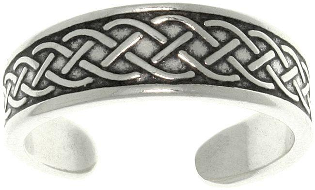 Jewelry Trends Sterling Silver Celtic Cross Laced Rope Adjustable Toe Ring