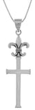 Jewelry Trends Sterling Silver Long Fleur De Lis Topped Cross Pendant on 18 Inch Box Chain Necklace