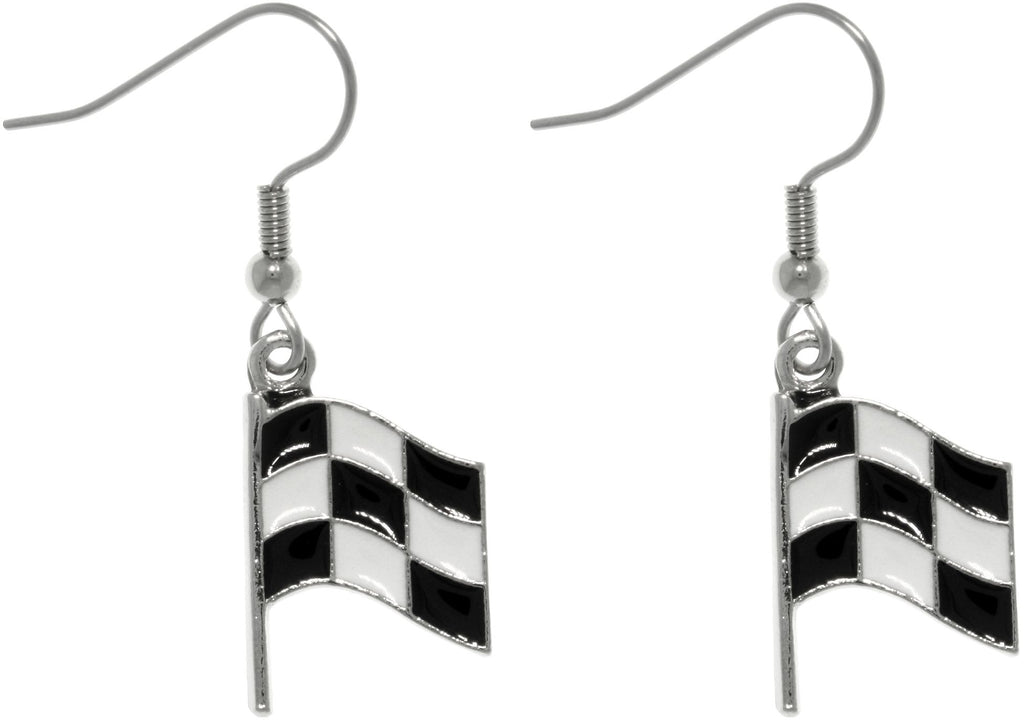 Jewelry Trends Pewter Black and White Checkered Car Racing Flag Finish Line Dangle Earrings