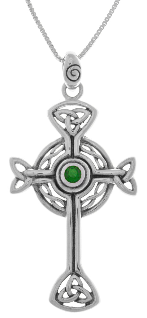 Jewelry Trends Sterling Silver Celtic Trinity Circle of Life Cross Pendant with Green Glass on 18 Inch Box Chain Necklace