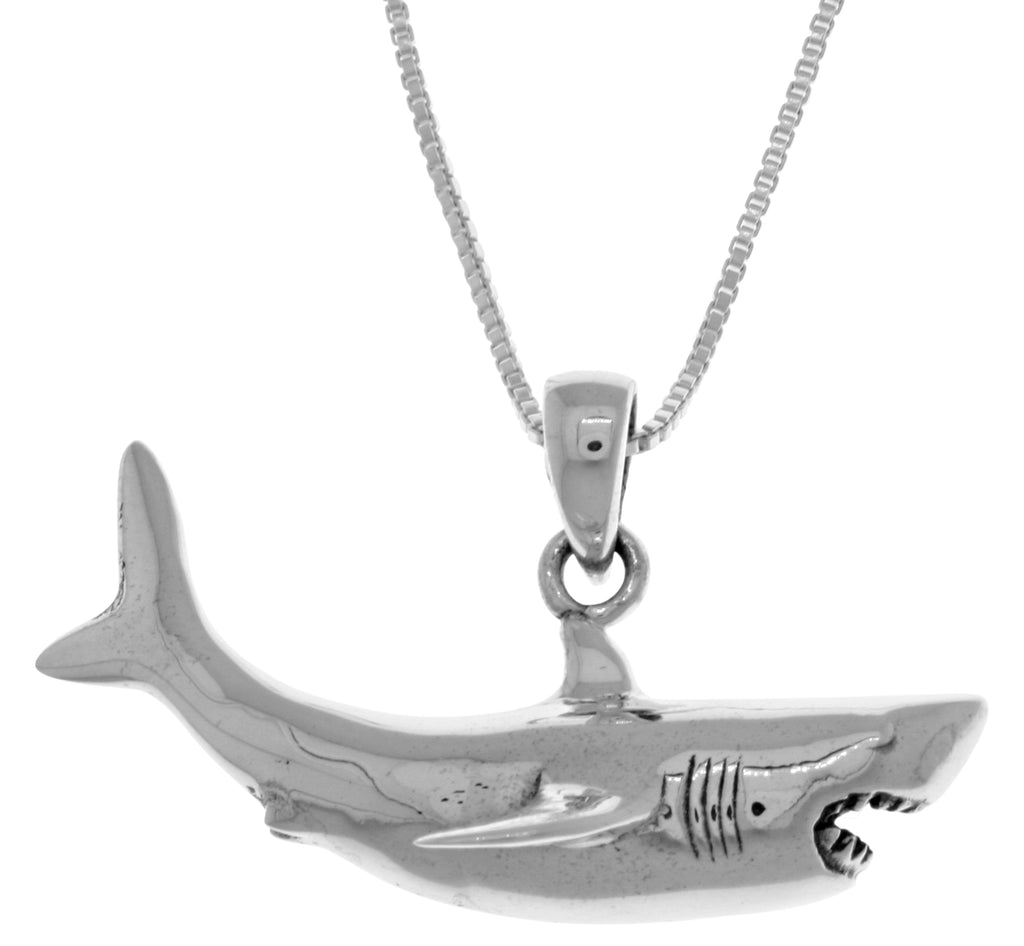 Jewelry Trends Sterling Silver Great White Shark Pendant on 18 Inch Box Chain Necklace
