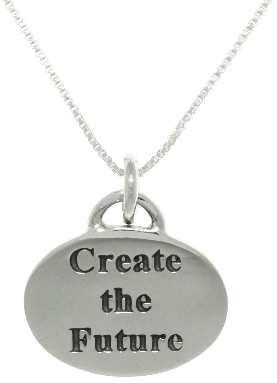 "Jewelry Trends Sterling Silver Create the Future Inspirational Words Message Pendant on 18"" Box Chain Necklace Graduation Gift"