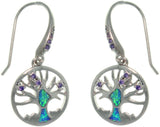 Jewelry Trends Sterling Silver Created Opal and CZ Tree of Life Earrings