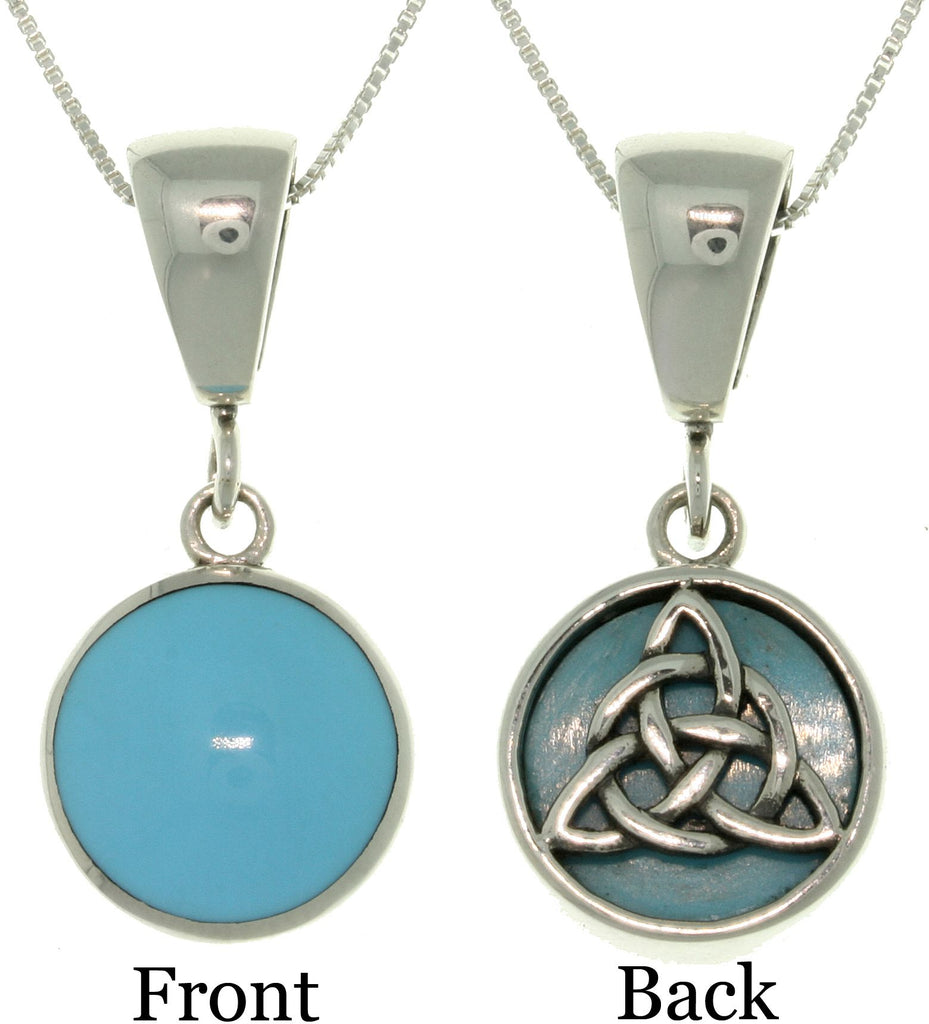 Jewelry Trends Sterling Silver Celtic Knot Reversible Sky Blue Stone Pendant with 18 Inch Box Chain Necklace