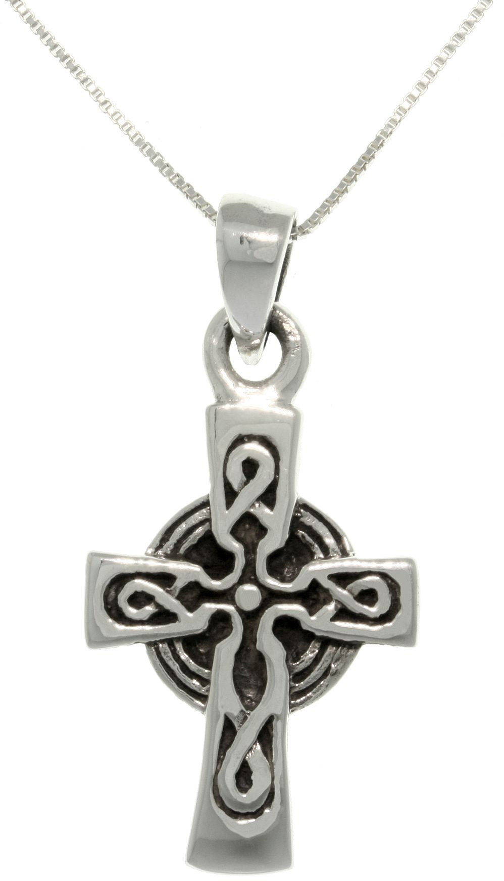 Jewelry Trends Sterling Silver Celtic Cross Pendant with 18 Inch Box Chain Necklace