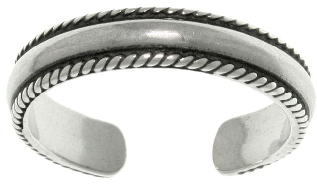 Jewelry Trends Sterling Silver Bead Edge Wedding Band Design Adjustable Toe Ring