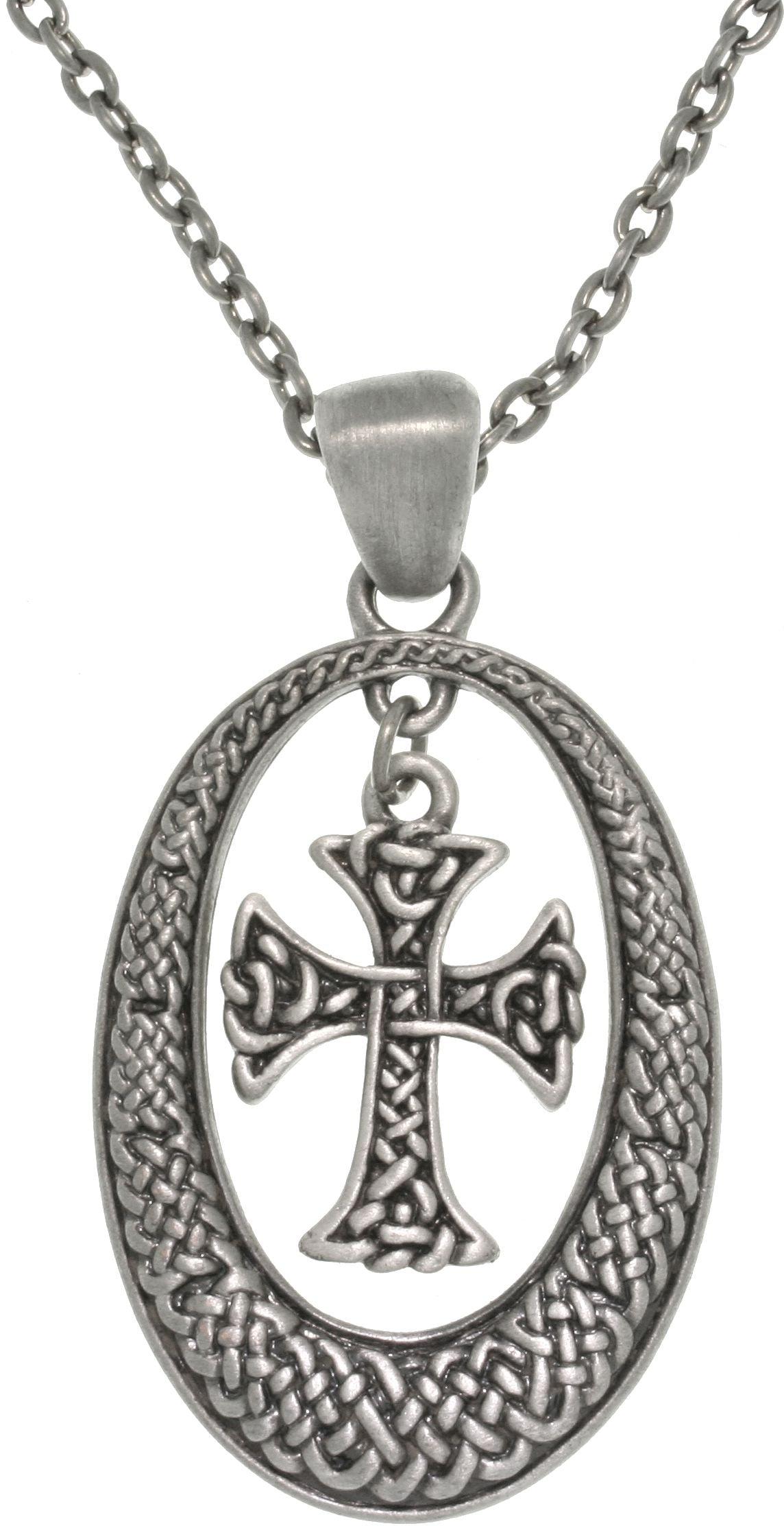 Jewelry Trends Pewter Celtic Knot Cross with Oval Frame Pendant on Chain Necklace