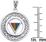 Jewelry Trends Sterling Silver Gay Pride Rainbow Triangle Celtic Knot Border Pendant on Box Chain Necklace