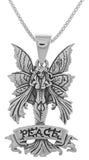 Jewelry Trends Sterling Silver Amy Brown Peace Fairy Pendant on 18 Inch Box Chain Necklace