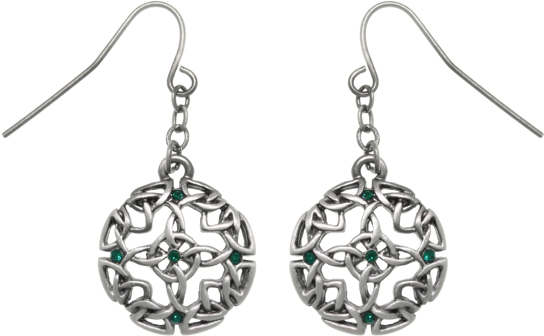 Jewelry Trends Pewter Celtic Circle Of Life and Good Fortune Dangle Earrings